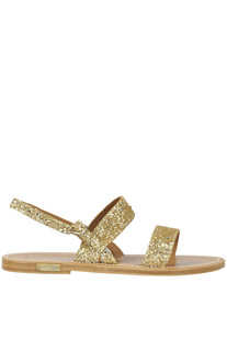 Barigoule glittered leather flat sandals Golden Goose by K.Jacques St.Tropez