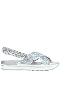 Glittered leather sandals Hogan