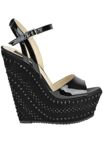 Embellished patent-leather wedge sandals John Richmond