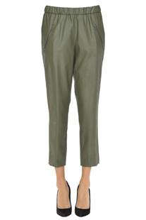 Eco-leather cropped trousers Kiltie
