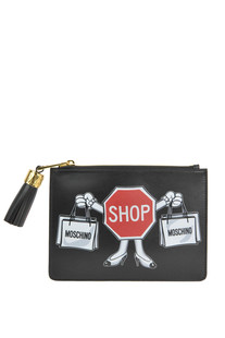 Printed leather clutch Moschino Couture