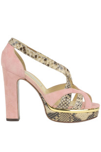 Suede and reptile print leather sandals L'Autre Chose