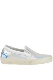 Metallic effect leather slip-on sneakers Philippe Model