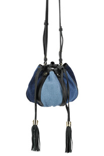 Leather and denim mini bucket bag See by Chloé