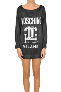 Designer logo silk dress Moschino Couture