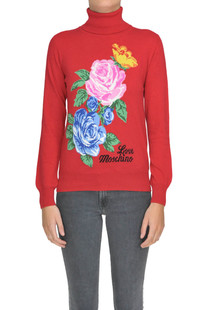 Flower print turtleneck pullover Love Moschino