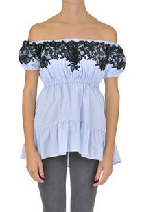 Lace insert striped blouse Ermanno Scervino