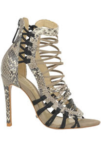 Reptile print leather and suede sandals Schutz