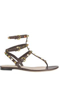 Rockstud Rolling leather flat sandals Valentino
