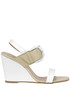 Leather and canvas wedge sandals Lea Foscati