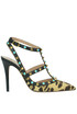 Rockstud Rolling animal print haircalf pumps Valentino