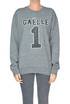 Eco-leather designer logo sweatshirt Gaelle Paris