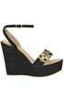 Jewel detail suede wedge sandals Cardiff