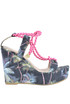 Printed fabric wedge sandals Pin-up stars