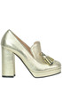 Visione metallic effect leather pumps Pinko