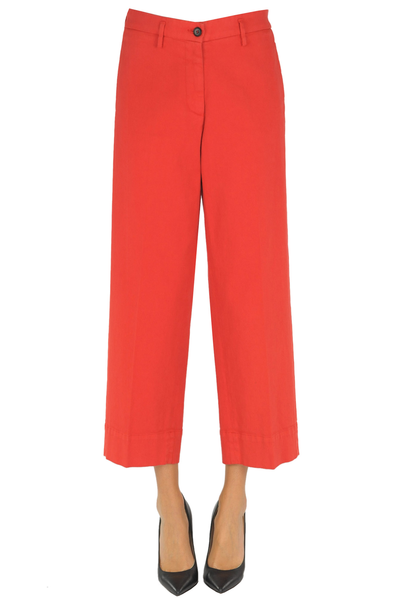 Pantaloni cropped in cotone