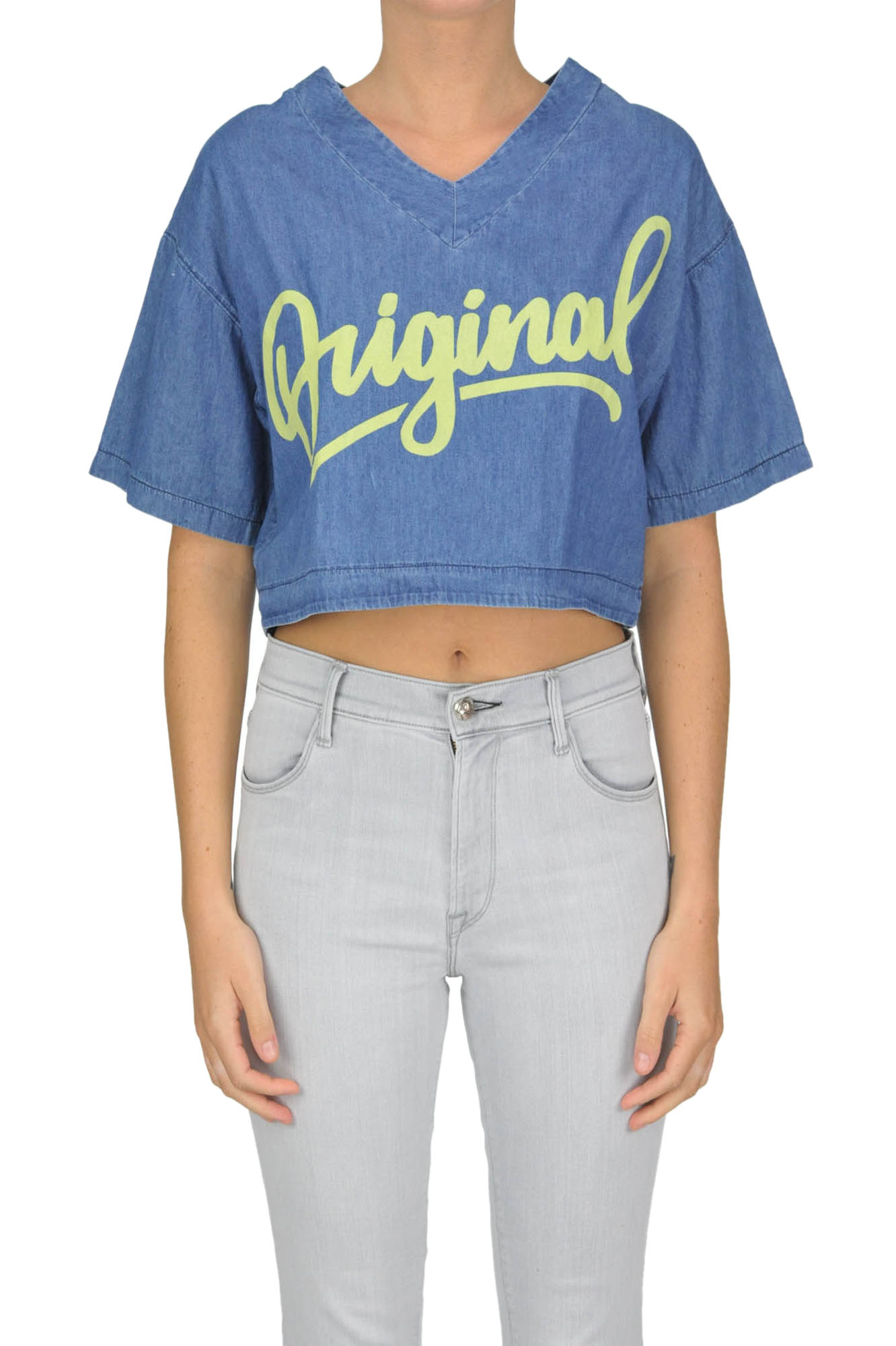 Image of Top cropped in denim